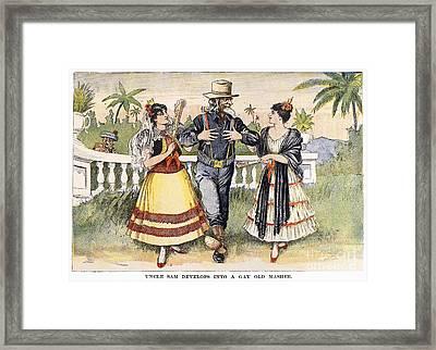 Cartoon: Uncle Sam, 1898 Framed Print by Granger