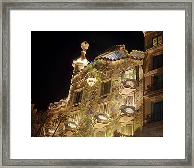 Nighttime Architecture Framed Print by Joan Carroll