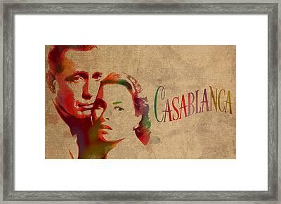 Casablanca Watercolor Painting Humphrey Bogart Ingrid Bergman On Worn Distressed Canvas Framed Print by Design Turnpike