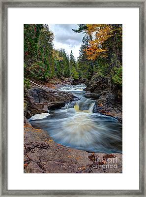 Cascade Falls North Shore Of Lake Superior Minnesota Framed Print by Wayne Moran