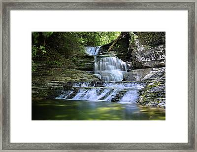 Cascading Descent Framed Print by Gary Yost