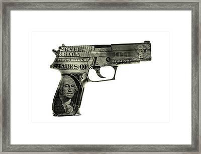 Cash Gun  Framed Print by Les Cunliffe