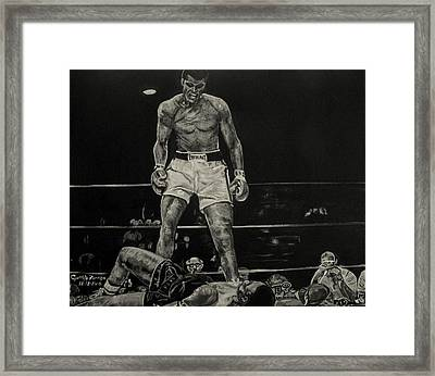 Cassius Clay And Sonny Liston Framed Print by Cynthia Farmer