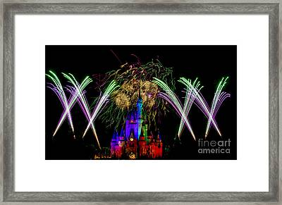 Castle Fireworks Finally Framed Print by Darcy Michaelchuk