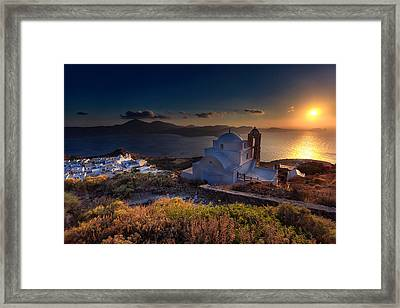 Castle In Milos At Plakas Framed Print by Andres Leon