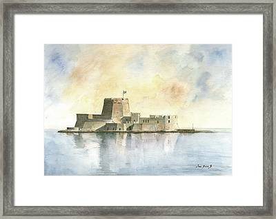 Castle Of Bourtzi In Nafplio Framed Print by Juan Bosco