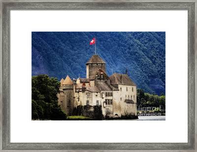 Castle On Lake Geneva Framed Print by George Oze