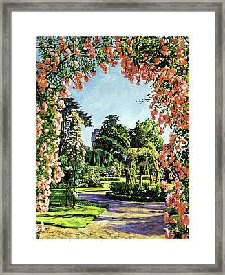 Castle Rose Garden Framed Print by David Lloyd Glover