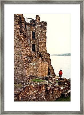 Castle Ruins On The Seashore In Ireland Framed Print by Douglas Barnett