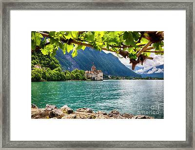 Castle View On Lake Geneva Framed Print by George Oze