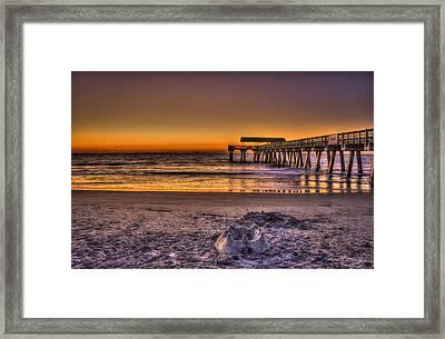 Castles In The Sand Tybee Island Pier Sunrise Framed Print by Reid Callaway