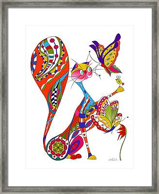 Cat And Two Butterflies Framed Print by Isabel Salvador