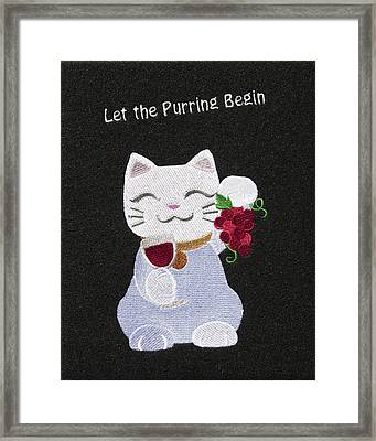 Cat And Wine Framed Print by Sally Weigand