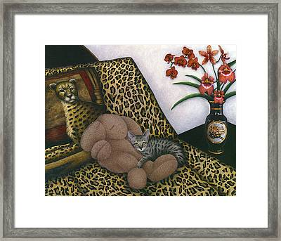 Cat Cheetah's Bed Framed Print by Carol Wilson
