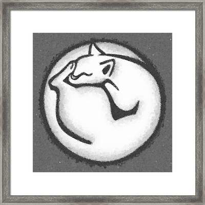 Cat Circle - Gray Framed Print by Cynthia Decker