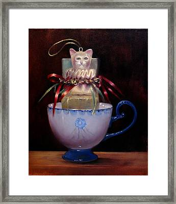 Cat In A Cup Framed Print by Loretta Fasan