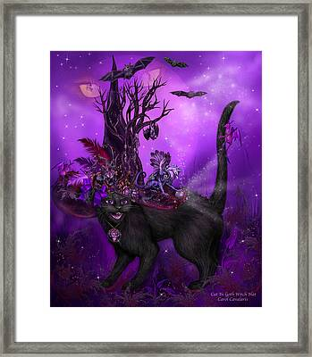 Cat In Goth Witch Hat Framed Print by Carol Cavalaris