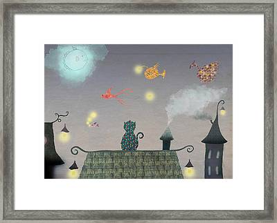 Cat In The Evening With Flying Fish And Stars Framed Print by Sukilopi Art