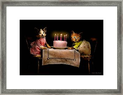 Cat - It's Our Birthday - 1914 Framed Print by Mike Savad