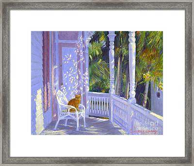 Cat On A Porch Framed Print by Candace Lovely