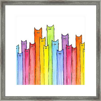 Cat Rainbow Pattern Framed Print by Olga Shvartsur