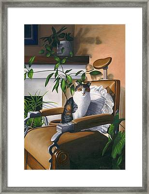 Cat Sitting In Barber Chair Framed Print by Carol Wilson