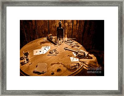 Catching A Cheater -sepia Framed Print by Olivier Le Queinec