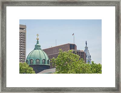 Cathedral Basilica Of Saints Peter And Paul With City Hall Framed Print by Bill Cannon