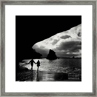 Cathedral Cove Framed Print by Varinia Blyth