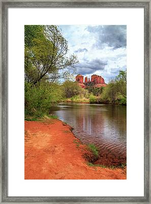 Cathedral Rock From Oak Creek Framed Print by James Eddy