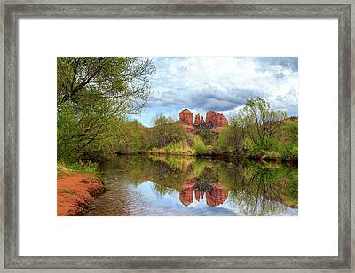 Cathedral Rock Reflection Framed Print by James Eddy