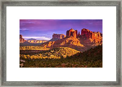 Cathedral Rock Sunset Framed Print by Alexey Stiop