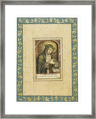 Catherine Of Siena Engraving Framed Print by Carel de Mallery
