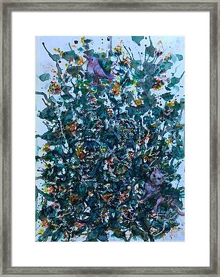 Cats And A Bird  Framed Print by Laila Awad Jamaleldin