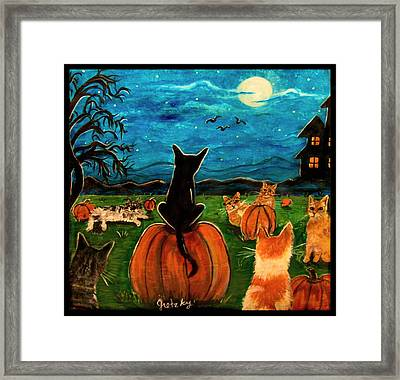 Cats In Pumpkin Patch Framed Print by Paintings by Gretzky