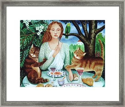 Cats Love Spaghettis Framed Print by Colette Raker