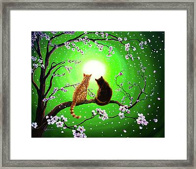Cats On A Spring Night Framed Print by Laura Iverson
