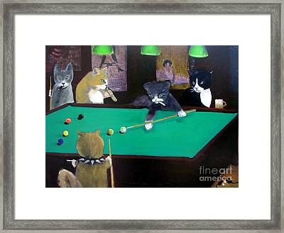 Cats Playing Pool Framed Print by Gail Eisenfeld