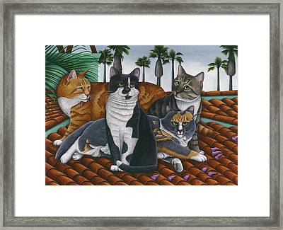 Cats Up On The Roof Framed Print by Carol Wilson