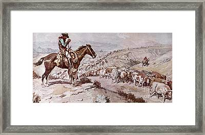 Cattle Drive Framed Print by Charles Marion Russell