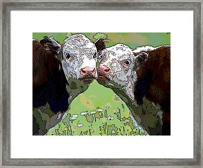 Cattle Grazing Framed Print by Charles Shoup