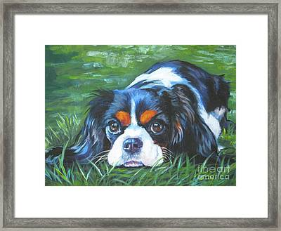 Cavalier King Charles Spaniel Tricolor Framed Print by Lee Ann Shepard