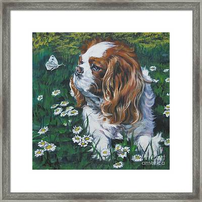 Cavalier King Charles Spaniel With Butterfly Framed Print by Lee Ann Shepard