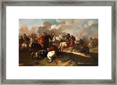 Cavalry Battle Between Christian And Turkish Army Framed Print by Mountain Dreams