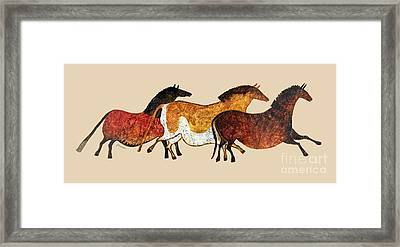 Cave Horses In Beige Framed Print by Hailey E Herrera