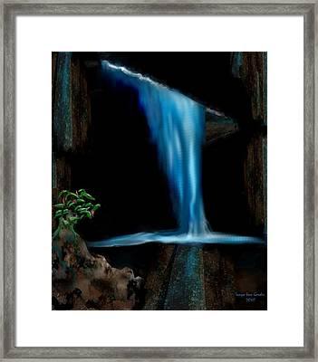 Cave Waterfall Framed Print by Tanya Van Gorder
