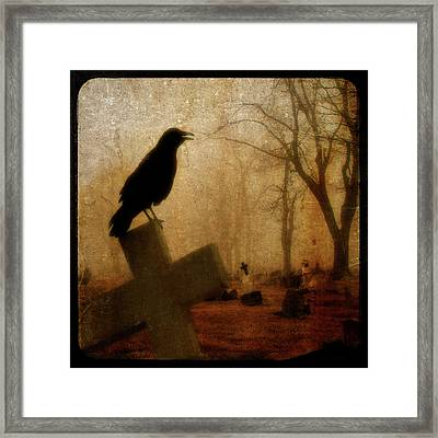 Cawing Night Crow Framed Print by Gothicolors Donna Snyder