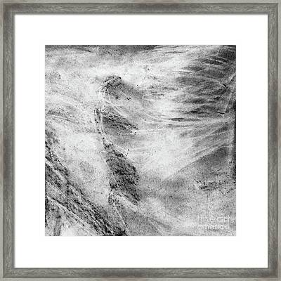 Ccf Black And White Charcoal Pattern Square Framed Print by Edward Fielding