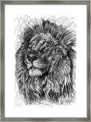 Cecil The Lion Framed Print by Michael  Volpicelli