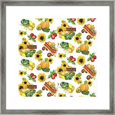 Celebrate Abundance Harvest Half Drop Repeat Framed Print by Audrey Jeanne Roberts